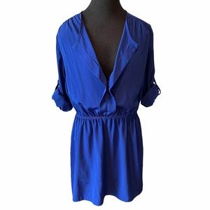 Deep Blue Sleeve Shirt Dress Size M
